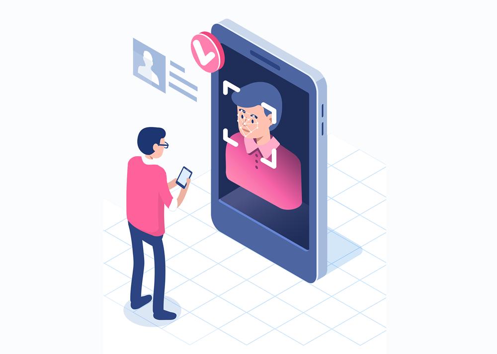 Design d'une personne s'identifiant avec son smartphone