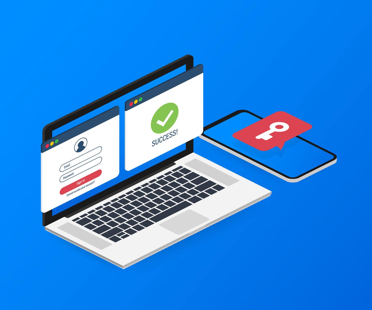 ordinateur et smartphone pour identification avec clé RGS**