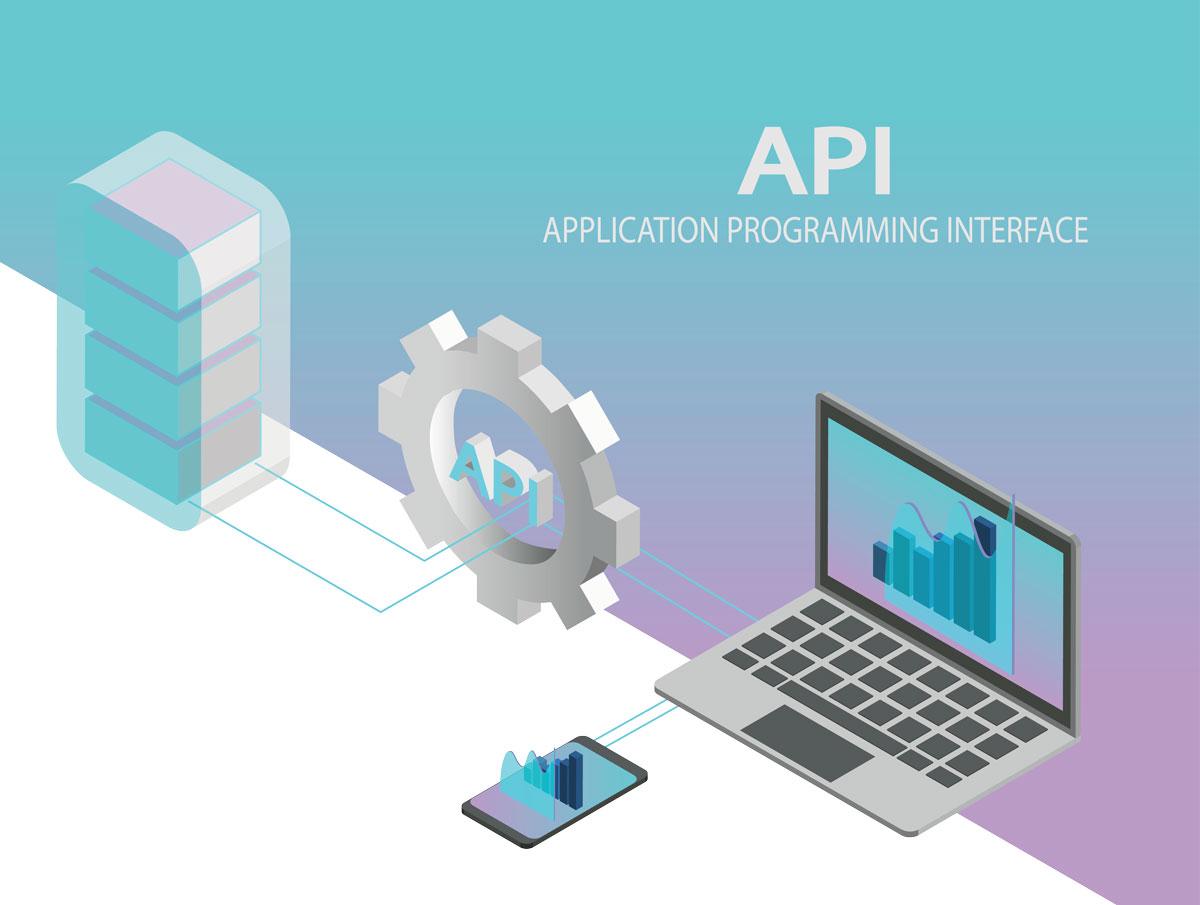 un serveur connecté à un ordinateur et un smartphone via une API