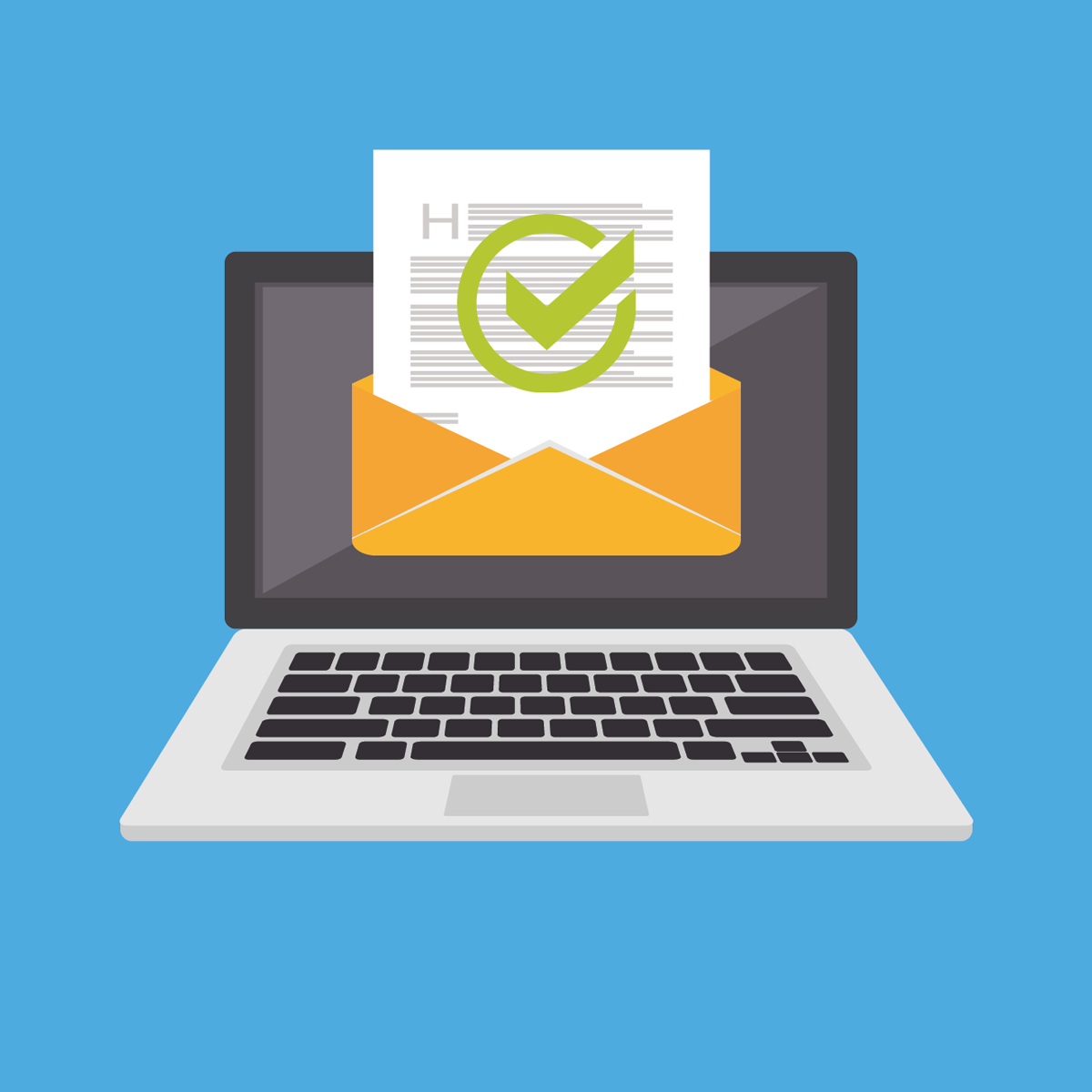 ordinateur avec mail ouvert et contenu validé