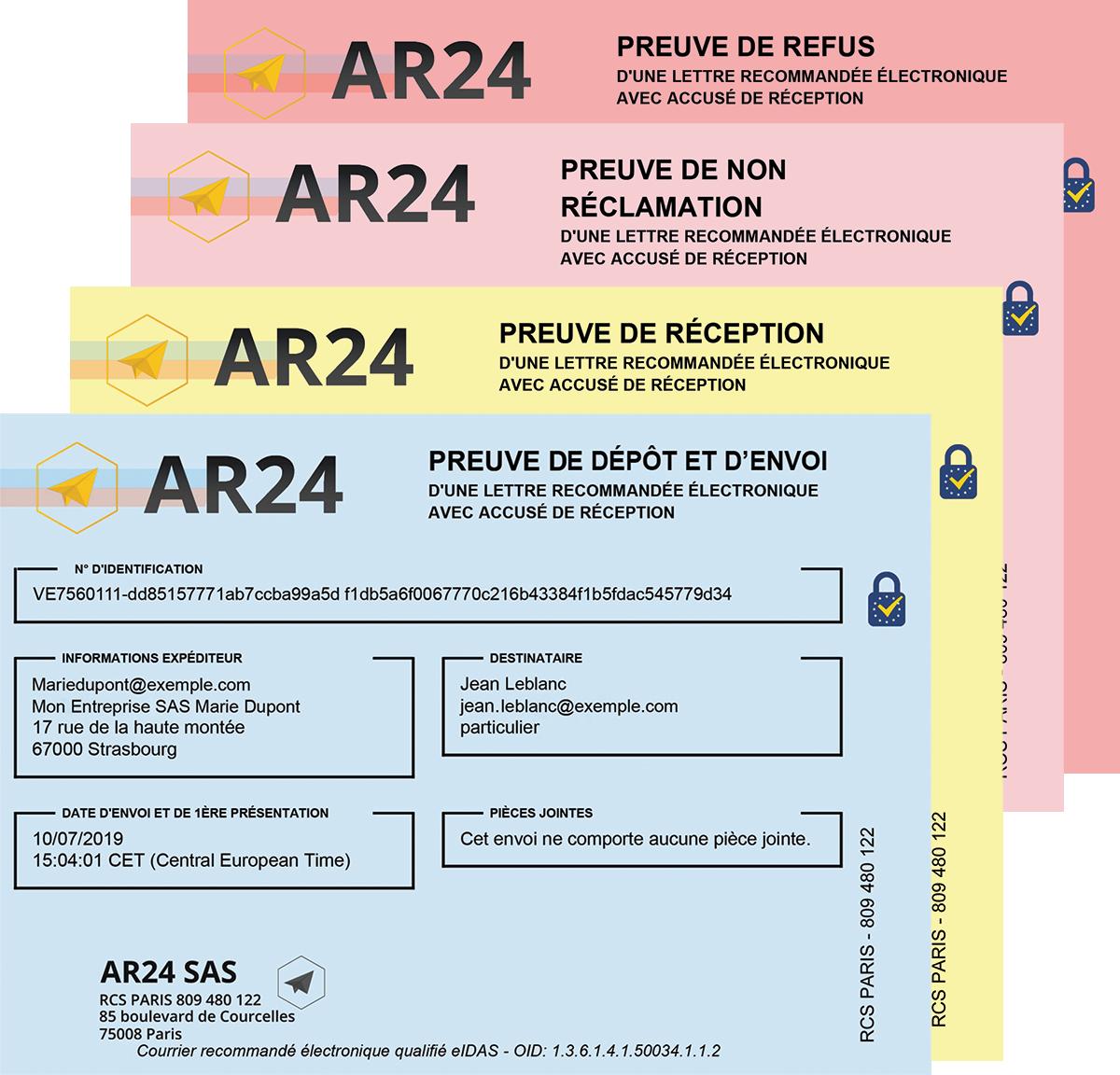 3 types de preuves pour votre recommandé en ligne avec AR24